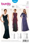 Burda Ladies Sewing Pattern 6866 Floor Length Evening Dresses