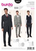Burda Mens Sewing Pattern 6871 Suit Jackets, Waistcoat & Trousers
