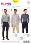 Burda Mens Sewing Pattern 6874 Smart Shirts in 3 Variations