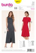 Burda Ladies Sewing Pattern 6877 Dresses with Mock Wrap Skirt