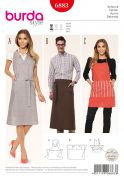 Burda Ladies & Mens Easy Sewing Pattern 6883 Aprons in 3 Styles