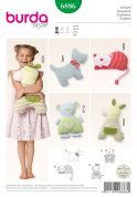 Burda Childrens Easy Sewing Pattern 6886 Novelty Animal Shape Cushion Toys