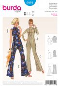 Burda Ladies Easy Sewing Pattern 6891 Vintage Style Tunic Tops & Flared Trousers