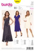 Burda Ladies Sewing Pattern 6894 Panelled V Neck Dresses