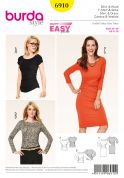 Burda Ladies Easy Sewing Pattern 6910 Figure Hugging Tops & Dress