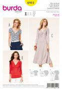 Burda Ladies Easy Sewing Pattern 6911 Entwined Front Tops & Dresses