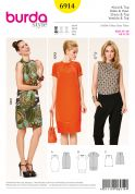 Burda Ladies Easy Sewing Pattern 6914 Top & Dresses with Neck Folds
