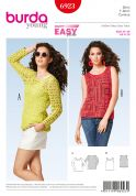Burda Ladies Easy Sewing Pattern 6923 Sleeveless & Long Sleeve Tops