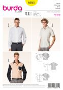 Burda Men's Sewing Pattern 6931 Long & Short Sleeve Shirts