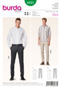 Burda Mens Sewing Pattern 6933 Fitted Slightly Hipster Trousers Pants