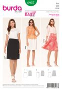 Burda Ladies Easy Sewing Pattern 6937 Straight, Mock Wrap & Flared Skirts
