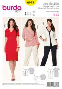 Burda Ladies Plus Sizes Easy Sewing Pattern 6948 V Neck Top, Cardigan Dress