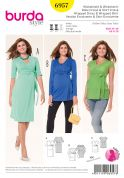 Burda Ladies Sewing Pattern 6957 Maternity Wrap Tops & Dress