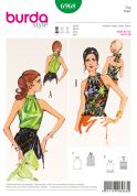 Burda Ladies Easy Sewing Pattern 6968 Vintage Style Halter Neck Tops