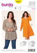 Burda Ladies Plus Sizes Easy Sewing Pattern 6972 Tunic Top & Dress