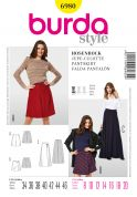 Burda Ladies Easy Sewing Pattern 6980 Pant Skirts in 3 Lengths