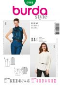 Burda Ladies Sewing Pattern 6984 Front Pleat Blouse Tops