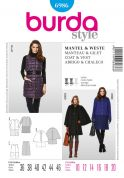 Burda Ladies Sewing Pattern 6986 Cape, Coat & Sleeveless Jacket
