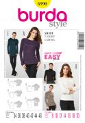 Burda Ladies Easy Sewing Pattern 6990 T Shirt Tops & Jumpers