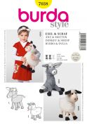 Burda Craft Sewing Pattern 7038 Donkey & Sheep Cuddly Toys