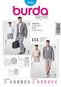 Burda Men's Sewing Pattern 7046 Jacket, Trousers & Bermuda Shorts Suit