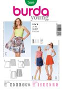 Burda Ladies Easy Sewing Pattern 7049 Short Wrap Skirts