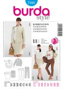 Burda Ladies Sewing Pattern 7105 Maternity Trouser, Skirt & Jacket Suit