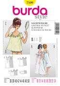 Burda Ladies Easy Sewing Pattern 7109 Vintage Style 50s Night Gown & Pyjamas