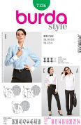 Burda Ladies Sewing Pattern 7136 Smart Fitted Shirts & Blouses