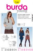 Burda Ladies Easy Sewing Pattern 7148 Tracksuit Hoodie, Dress & Skirt