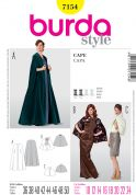 Burda Ladies Easy Sewing Pattern 7154 Short, Mid & Long Capes