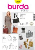 Burda Easy Accessories Sewing Pattern 7158 Shopping Bags & Handbags