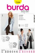 Burda Ladies Easy Sewing Pattern 7184 Waterfall Front Loose Drape Jackets