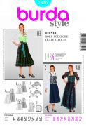 Burda Ladies Plus Sizes Sewing Pattern 7326 Dirndl Dresses & Apron