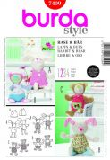 Burda Easy Craft Sewing Pattern 7409 Teddy Bear & Bunny Cuddly Toys