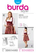 Burda Ladies Sewing Pattern 7443 Dirndl Dress with Apron