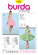 Burda Ladies Easy Sewing Pattern 7556 Circle Skirt Dresses & Belt