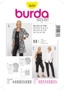 Burda Ladies Plus Sizes Sewing Pattern 7670 Tops & Blouses