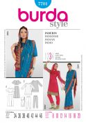 Burda Ladies Sewing Pattern 7701 Indian Style Sari Outfit