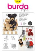Burda Craft Sewing Pattern 7904 Teddy Bear, Monkey & Elephant Cuddly Toys