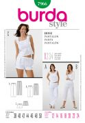 Burda Ladies Easy Sewing Pattern 7966 Shorts, Cropped & Full Length Pants