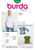 Burda Ladies Plus Sizes Easy Sewing Pattern 8100 Simple Tunic Tops