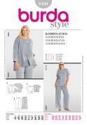 Burda Ladies Plus Sizes Easy Sewing Pattern 8108 Casual Top, Jacket & Pants