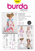 Burda Craft Easy Sewing Pattern 8308 Doll Clothes & Accessories