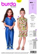 Burda Kids Easy Sewing Pattern 9343 Drop Waist Jumpsuits