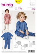 Burda Baby Easy Sewing Pattern 9348 Loose Dress, Top & Trousers