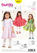 Burda Girls Easy Sewing Pattern 9375 Dresses with Flared Bell Shape Skirts