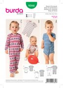 Burda Baby Easy Sewing Pattern 9384 Bodysuit & Rompers