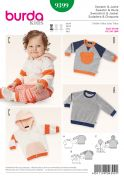 Burda Baby Easy Sewing Pattern 9399 Hoodie & Sweater Tops