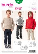 Burda Boys Easy Sewing Pattern 9407 Hoodie & Sweater Tops
